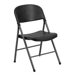 Flash Furniture - Flash Furniture Hercules Series 330 lb. Capacity Black Plastic Folding Chair - When in need of temporary seating this lightweight, portable chair is perfect. Folding chairs can be used for banquets, Parties, Graduations, sporting events, school functions and classrooms. This chair will be the perfect addition in the home when in need of extra seating to accommodate guests. If you are hosting an event or party where you need additional seating, you can use the number of chairs you want while storing the rest conveniently out of your way. The chair will not take up anywhere near as much space as chairs that cannot fold when it comes time to clean up. The great thing about this folding chair is that it can be used for both indoor and outdoor events to meet all your party planning needs.