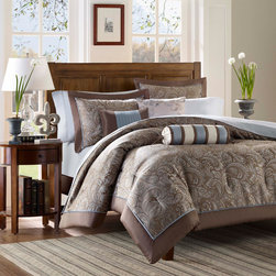 """Madison Park - Madison Park Aubrey 6 Piece Jacquard Duvet Cover Set - If classic is your style, Aubrey is perfect for you. The jacquard weave is inspired from an updated paisley motif and is woven in a beautiful combination of soft blue, taupe and and a hint of platinum. The duvet cover and shams offer beautiful details with a 2"""" flange and 1/2"""" flat piping in soft blue. The reverse of the duvet cover is a soft brown color. Duvet Cover/Sham: 100% polyester jacquard, 1/2"""" polyester charmeuse piping, 100% brushed polyester reverse Square Pillow 18"""": 100% polyester jacquard, polyoni reverse, polyester filling Oblong : 100% polyester cover, polyester filling"""