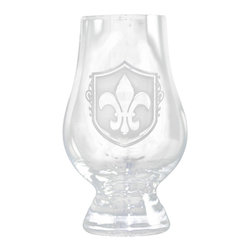 Crystal Imagery - Glencairn Scotch Whisky Glass Engraved Fleur De Lis, Set of 4 - Fleur de Lis engraved glencairn glasses, engraved by Crystal Imagery's master glass carvers, with the popular Fleur-de-lis design are a unique gift for the man or woman who loves all things French. Our Fleur de lis engraved scotch snifter set of four, and whisky snifter features an old world  shield background carved out from the glass surface by our carvers to leave a fleur de lis pattern raised from the Glencairn glass surface in a stunning 3 dimensional manner. A great gift for a special bride and groom wedding gift, anniversary or birthday gift idea for someone with French heritage or who loves  French Country decor. Our French bar glasses and French barware are a gift that will make jaws drop and will be used and appreciated for generations to come.