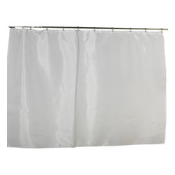 """Extra Wide Polyester Fabric Shower Curtain Liner in White - 100% Polyester fabric shower curtain liner with weighted bottom hem, extra wide size 108"""" wide x 72"""" long, color White. Protect your shower curtain with our Extra Wide (108'' wide x 72'' long) Fabric Liner--perfect for corner bathtubs. This machine-washable, 100% polyester liner resists water, protecting your favorite shower curtain from water damage without the plastic look of vinyl. Additionally, a weighted hem ensures this liner holds firmly in place each time you shower. You wouldn't even need to bother with a separate shower curtain. Here in White, you can also find this style liner in ivory. Machine wash in warm water, tumble dry, low, light iron as needed"""