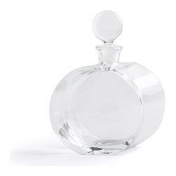 "Global Views - Round Glass Decanter - The Round Glass Decanter - Offset Shape has a very unique and appealing aesthetic. This tasteful and bold style makes it a wonderful addition to any collection. With dimensions of 8""l x 2.5""w x 10""h, it is just the right size for any liquor cabinet or bar. Hand wash only."