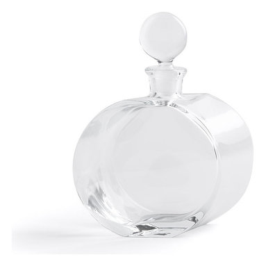 """Global Views - Round Glass Decanter - The Round Glass Decanter - Offset Shape has a very unique and appealing aesthetic. This tasteful and bold style makes it a wonderful addition to any collection. With dimensions of 8""""l x 2.5""""w x 10""""h, it is just the right size for any liquor cabinet or bar. Hand wash only."""