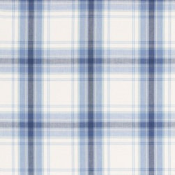 "Schumacher - St. Martin Plaid Fabric - Nothing says ""home"" like your favorite plaid. This contemporary pattern gives you that cozy feeling with a sheer, large-scale plaid that works just as well in your summer cottage as it does in your apartment. Add extra charm to your home with lively plaid curtains or an upholstered seat. There's a two-yard minimum order."