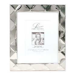 Lawrence Frames - 8x10 Silver Pillow Metal Matted for 5x7 Picture Frame - Beautiful decorative silver  metal picture frame with a gorgeous pillow effect with crystal accents.  This silver metal frame has a rich and lustrous finish.  High quality black  velvet backing with easel for vertical or horizontal tabletop display, and comes with hangers for vertical or horizontal wall mounting.    Fabulous metal picture frame is made with exceptional workmanship and comes individually boxed.  In this style the 8x10 size comes with a white acid free bevel cut mat for a 5x7 photo.