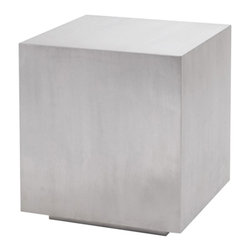 Nuevo - Caldo Side Table - Brushed stainless steel. Plywood sub frame. 19 in. W x 19 in. D x 21.5 in. H (26.01 lbs.)