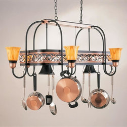 Hi-Lite MFG - Odysee 8-Lite Pot Rack in Black Leather Finish w Accent Copper - Includes six pot rack hooks. Accessories and bulbs not included. Saturn yellow glass. UL listed. Eight 100W MED INC for lamps. Made from steel. 53 in. L x 33 in. W x 21 in. HHi-Lite achieved success through attention to detail and stubbornness to only manufacturer the highest quality product. Hi-Lite has built its reputation as a premier lighting manufacturer by using only the finest raw materials, inspirational designs, and unparalleled service. This allows us great flexibility with our designs as well as offering you the unique ability to have your custom designs brought to Light.