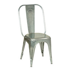 Habitat Home & Garden - Galvanized Metal Chair - The Galvanized Metal Chair is a cool industrial piece that will add a little edge to many home decors.