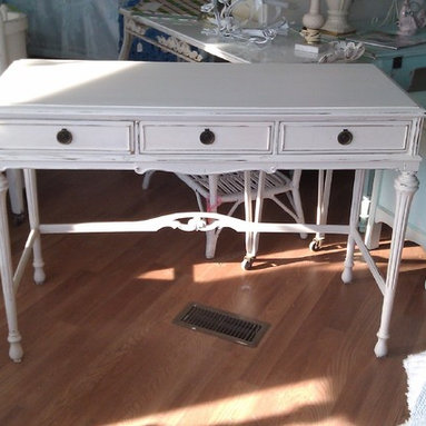 antique desk shabby chic white distressed www.vintagechicfurniture.com - www.vintagechicfurniture.com
