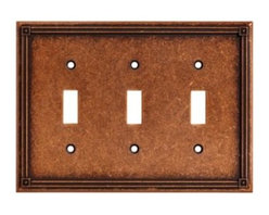Liberty Hardware - Liberty Hardware 135772 Ruston WP Collection 6.77 Inch Switch Plate - Sponged Co - A simple change can make a huge impact on the look and feel of any room. Change out your old wall plates and give any room a brand new feel. Experience the look of a quality Liberty Hardware wall plate.. Width - 6.77 Inch,Height - 4.9 Inch,Projection - 0.2 Inch,Finish - Sponged Copper,Weight - 0.65 Lbs