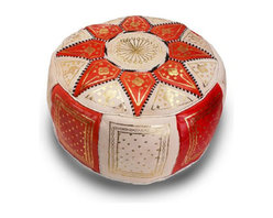 Contemporary Orange Leather Pouf - Give your home a beautiful punch of color and comfort with the Laila Leather Pouf. The warm orange hue combined with soft cream and gold accents are perfectly balanced, adding enough color without being too loud. This comfy pouf can be used as a sitting stool, foot rest, or decorative accent to show off your eclectic taste.