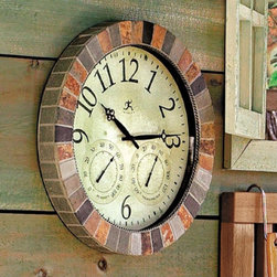 Slate Indoor/Outdoor Clock - This outdoor clock is a wonderful way to keep up with the time when you're outside on a porch or playing in the pool.  This clock has a outdoor style frame and would blend in beautifully on a deck or porch.