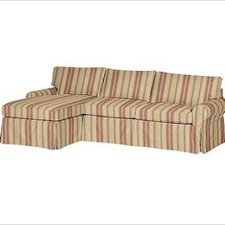 """PB Basic Right 2-Piece with Chaise Sectional Slipcover, Montgomery Stripe - Designed exclusively for our PB Basic Sectional, these easy-care slipcovers have a casual drape, retain their smooth fit, and remove easily for cleaning. Select """"Living Room"""" in our {{link path='http://potterybarn.icovia.com/icovia.aspx' class='popup' width='900' height='700'}}Room Planner{{/link}} to select a configuration that's ideal for your space. This item can also be customized with your choice of over {{link path='pages/popups/fab_leather_popup.html' class='popup' width='720' height='800'}}80 custom fabrics and colors{{/link}}. For details and pricing on custom fabrics, please call us at 1.800.840.3658 or click Live Help. All slipcover fabrics are hand selected for softness, quality and durability. {{link path='pages/popups/sectionalsheet.html' class='popup' width='720' height='800'}}Left-arm or right-arm configuration{{/link}} is determined by the location of the arm on the love seat as you face the piece. This is a special-order item and ships directly from the manufacturer. To view our order and return policy, click on the Shipping Info tab above."""