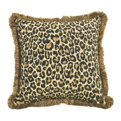 "CCCC-P-399 - Thunder Cat Cheetah Pattern Print 18"" x 18"" Throw Pillow with Brush Fringe Trim - Thundercat cheetah pattern print 18"" x 18"" throw pillow with brush fringe trim. Measures 18"" x 18"" made with a blown in foam and also available with feather down inserts at additional costs, search for down insert upgrade to add the up charge to your order. These are custom made in the U.S.A and take 4- 6 weeks lead time for production."