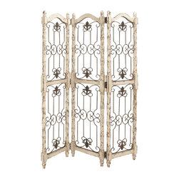 Simply Essential Metal Wood 3 Panel Screen - Description: