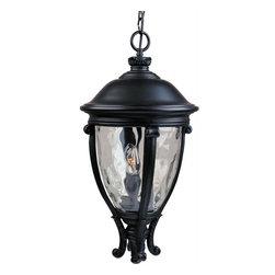 Joshua Marshal - Three Light Black Water Glass Glass Hanging Lantern - Three Light Black Water Glass Glass Hanging Lantern