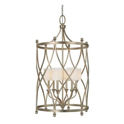 Capital Lighting Fixture Company - Fifth Avenue Winter Gold Six-Light Lantern Pendant - -Box-Pleated, Fabric, Stay-Straight Shades  -Canopy: 5.59W x 5.59H x 1.57 D -10 ft. of chain and 15 ft. of wire Capital Lighting Fixture Company - 9083WG-484