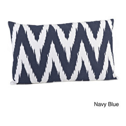 None - Chevron Print Feather Filled Throw Pillow - This down-filled throw pillow features a busy chevron design in either a lumbar or square shape. The knife-edged pillow is available in navy blue or red.