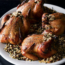 Horchow - Four Cornish Hens - Four deboned Cornish hens, seasoned to perfection, are stuffed with a tasty blend of wild rice and pecans. All you have to do is bake until golden brown (about 30 minutes). Each order of four hens serves 4-6. Please note that this item may require ad...