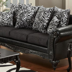 Chelsea Home - Upholstered Sofa - Includes toss pillows. Traditional style. Fringe, contrasting striped pattern pillows. Sofa in bi-cast ebony cover. Pillow in Jericho cover. Seating comfort: Medium. Plush, rolled arms. Dacron wrapped foam reversible seat cushions. Zippered cushions. 8.5 gauge medium loop sinuous springs spaced 5 in. apart. 1.8 density foam with 0.75 of fiber wrapping. Ornately carved wood trim. Fabric contains: 100% polyester/73% cotton, 14% acrylic, 11% nylon/100% polyester. Made from mixed hardwoods and plywood. Made in USA. No assembly required. Seat: 68 in. L x 25.5 in. W x 22 in. H. Overall: 92 in. L x 34 in. W x 36 in. H (165 lbs.)The Chelsea Home Furniture Cecelia Collections brings sense of Victorian elegance to any living room area. This beautiful set, by Chelsea Home Furniture, epitomizes Chelseas legendary reputation for quality and comfort.