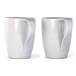 Cuisinox - 12 oz White Porcelain Mug - Set of 2 - This beautiful set of 2 porcelain mugs, which have a curved ribbon-shaped handle which gives them a special look and also make them easy to hold. They each have a 12 oz capacity and come in trendy gift box.