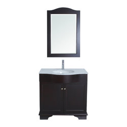 "Stufurhome - 35"" Monaco Single Sink Vanity with Carrera Marble Top - Looking to add a touch of elegance to your smaller bathroom space. Look no further than the 35 Monaco Single Sink Vanitya diminutive yet dazzling centerpiece for a guest bath or lavette. The graceful curves and classic lines of the cabinet are complemented by a coordinating mirror. The crisp white Carrera Marble top, which sets off the deep espresso finish of the cabinet, will infuse your bathroom with high-end style.  Affordable style for your bathroom space"