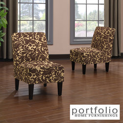 PORTFOLIO - Portfolio Wylie Armless Chairs in a Carmel Brown Velvet (Set of 2) - The Portfolio Wylie set of 2 armless chairs features upholstery in chocolate brown raised velvet with a golden brown background. The chairs are designed with a slightly contoured square back and thick deep seat foam cushioning for extraordinary comfort.