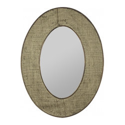 """Cooper Classics - Brooklyn Natural Burlap Oval Mirror - Add visual interest to your home's d�cor with the lovely Brooklyn Mirror.  This beautiful wall mirror features a natural burlap finish that will enhance any room's motif. Frame Dimensions: 23.75""""W X 31.75""""H; Mirror Dimensions: 12.75""""W X 20.5""""H; Finish: Natural Burlap; Material: Burlap; Beveled: No; Shape: Oval; Weight: 16 lbs; Included: Brackets, Ready to Hang"""