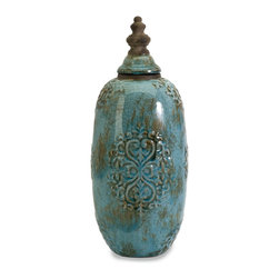 iMax - iMax Tall Caspian Jar X-53018 - Accessorize with this beautiful turquoise jar and its mate.