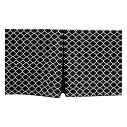 Allyson Brooke, Inc. - Classy, Contemporary Quatrefoil Cribskirt with 15 Inch Drop, Black - Tailored CRIB Dust Ruffle / Cribskirt in Black with Quatrefoil design in White. Made in the USA of 100% cotton with 15 Inch Drop Length. Machine Washable. This cribskirt is elegant and classy, yet sooo affordable! There is no need to purchase an entire bedding set for you nursery when you won't use all the components! And, no need to pay triple the price for a custom cribskirt! We make these from top quality, cotton fabric with a 15 inch drop (for when your crib mattress is in the lowest position.) This is longer than most crib dust ruffles on the market, and will give you a dust ruffle that is long enough to nearly touch the floor on most cribs - also allowing you valuable hidden storage space beneath the crib! This beautiful 4 sided Crib Dust Ruffle is pleated, with one pleat on each side, and one pleat on each end. Because it is 4 sided you can position your crib any way you choose! It looks beautiful from every angle!