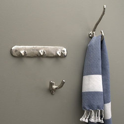 Textured Hooks - Because it's the details that count. Richly textured hooks have a gleaming nickel finish, giving a glamorous spruce to the bath.