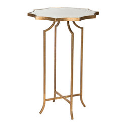 Kathy Kuo Home - Giusti Hollywood Regency Star Gold Leaf Antique Mirror Side Table - Set of 2 - Our romantic, antique mirror side table is exquisitely shaped and reflects your flare for eclectic entertaining. With petite proportions, it's perfect for cozy corners. The delicately designed antique gold leaf base contrasts with the heraldic shaped antique mirror top.