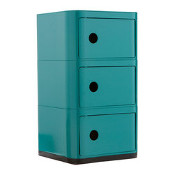 Futuristic Tri-Square Cabinet in Turquoise - Welcome to your organized future. This square-shaped storage cabinet features three spacious compartments for hiding away bathroom toiletries, bedside books, or office supplies. The possibilities are endless, really. Plus it adds an ultra-modern touch to your décor.