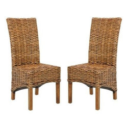 Safavieh - Isla Side Chair (Set Of 2) - A new take on the classic wicker seating, the beautifully woven rattan of the transitional Isla Side Chair is crafted of renewable mango wood in a light walnut brown finish. Use this chic high-back chair around a dining room or kitchen table for comfort and timeless style.