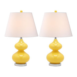 Safavieh - Safavieh Eva Yellow Double Gourd Glass Table Lamp X-2TES-H6804TIL - Illuminate your living room, bedroom or family room in style with the shimmery yellow Double Gourd Glass Lamp with yellow finial and brushed silver finish on its metal base and neck. Topped with a contemporary tapered pure cotton shade, this fashion-right lamp has a 3 way switch which allows you to adjust its brightness.