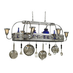 Hi-Lite MFG - Leaf 9-Lite Pot Rack in Satin Steel Finish - Includes eight pot rack hooks, 3 ft. chain and 7 ft. wire. Accessories and bulbs not included. UL listed. White odysee glass. Nine 100W MED INC for lamping. Voltage: 120 V. Made from steel. 71 in. L x 42 in. W x 23 in. HHi-Lite achieved success through attention to detail and stubbornness to only manufacture the highest quality product. Hi-Lite has built its reputation as a premier lighting manufacturer by using only the finest raw materials, inspirational designs, and unparalleled service. This allows us great flexibility with our designs as well as offering you the unique ability to have your custom designs brought to light.