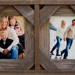 MyBarnwoodFrames - Collage Frame with Two 5x7 openings, Barnwood with Cornerblocks - Collage  Frames  are  lots  of  fun  to  decorate  with,  and  this  two-opening  collage  frame  handcrafted  from  authentic  barnwood  is  no  exception. Our  2-picture  multi-frame  makes  a  beautiful  rustic  wall  hanging  or a one-of-a-kind  gift.  It  will  accommodate  two 5x7  photos  or  paintings,  each  with  a portrait  orientation,  or  rotate  the  entire  frame  for  two  landscape-oriented  openings.  A  barnwood  collage  frame  is  so  versatile,  you  are  limited  only  by  your  own  imagination. Choose  one  of  our  beautiful  rustic  frames  and  fill  it  with your  favorite  memories.          Product  Specifications:                  Two  openings,  each  accommodates  one 5x7  photo              Frame  can  hang  horizontally  or  vertically              Outside  Frame  Dimensions:  approximately  16.5  wide  x  11  high  x  1.5  deep              Includes  glass,  backing  and  hanging  hardware              Made  in  USA  from  100%  reclaimed  barnwood              Frame  a  memorable  greeting  card:  If  you  have  a   treasured  greeting  card  from  a  special  someone,  a  collage  frame  allows  you  to  showcase both  the  front  and  the  inside of  the  card  simultaneously.           Hold  on  to  the  memories:  These  rustic  frames  look  especially  good  with  black  and  white  photos.  Find  a  treasured  photo  of  each  of  your  parents  at  a  young  age  and  frame  both  inside  one  of  our  two-opening  collage  frames.          Rustic  Christmas  Gifts:  With  a  little  creativity,  you  can  turn  this  frame  into a one-of-a-kind  holiday  wall  hanging.   Add  your  own  handmade  holiday  cross  stitch.   Insert holiday-themed  postcards,  sprigs  of  holiday  greenery  or  a  cherished  Christmas  ornament.   The  possibilities  are  endless.           Savor  a  little  bit  of  nature:  Our  unique  design  makes  this  collage  frame  a  great  way  to  showcase  some  of  Mother  Nature's  beauties.  Press  two  large  autumn  leaves  and  mount  one  in  each  side.  Remove  the  glass  and  you  can  even  frame  sprigs  of  lavendar  or  other  wildflowers.  Each  frame  is  handcrafted  from  authentic  barnwood,  and  includes  openings  for  two  5x7  pictures.  View  our  other  collage  picture  frames  for  more  great  ideas.