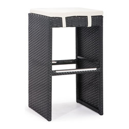 ZUO VIVA - Marrakesh Single Bench Bar Height Espresso - The Marrakesh Bar Stool has a epoxy coated steel frame with a synthetic weave wrap with polyblend seat cushions.