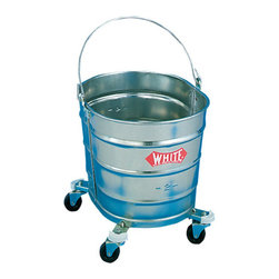 "IMPACT - BUCKET| GALVANIZED 26 T OVAL W/2"" CASTERS - Oval 24-mil gauge galvanized steel bucket with handle and 2-in. ball-bearing casters. Leakproof seams. Embossed graduations for measuring. Rim is reinforced with 1/4-in. steel wire. 12w x 16d x 101/2h.. . . . . . . . 26-Quart Metal Mop Bucket. Dimensions: Height: 15, Length: 17, Width: 16. Country of Origin: US   CAT: Mops, Brooms & Brushes Mops & Equipment Wringers, Bucket & Pails"