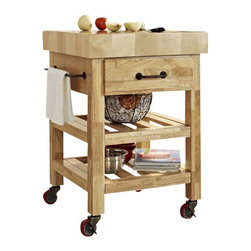 "Crosley - Marston Butcher Block Kitchen Cart in Natural - Dimensions:  34.4"" H  x 24"" W x 24"" D"