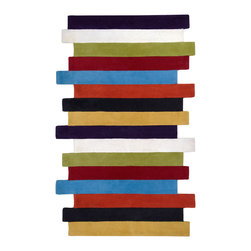 None - Hand-tufted Contemporary Multi Colored Stripe Bury Wool Abstract Rug (5' x 8') - Hand tufted in wool,this rug features a contemporary design and a plush pile. Colors of purple,white,lime,red,sky,orange,black,and yellow accent this area rug.