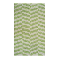 Pop Accents - Green & White Ladder Rug - Indulge in trendsetting interiors with this modern rug. Boasting a chic pattern and easy-to-wash construction, it's a keystone of the contemporary design scheme.   0.25'' thick Polyester / acrylic Hand wash; hang dry Imported