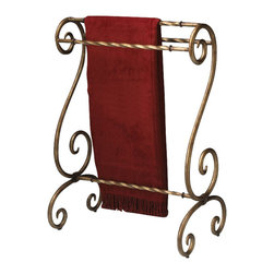 Butler Specialty - Butler Blanket Stand - Bronze finished metal. Horizontal rails for hanging quilts, comforters, bedspreads as well as blankets. Can also be used for hanging guest towels.