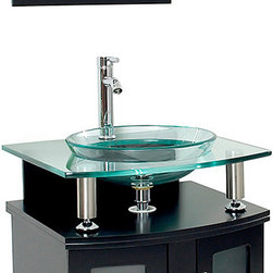 "Fresca - Fresca Contento 24"" Espresso Vanity w/ Mirror - Dimensions of vanity:  23.63""W x 22""D x 33.75""H. Dimensions of mirror:  19.63""W x 27.63""H. Materials:  Solid wood frame, tempered glass countertop/sink. Single hole faucet mount. P-trap, faucet, pop-up drain and installation hardware included.  A lovely vanity that takes a contemporary twist on baroque furniture.  Little details such as slightly octangular shaped storage, cubby hole storage underneath the counter and basin, a clear glass basin and a wide mirror really make this ensemble great for those looking to not just update their bathroom, but keep it classic."