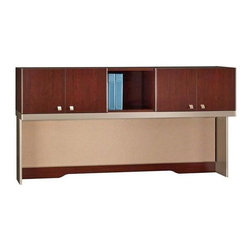 Bush Business - Harvest Cherry Office Hutch w Shelf and Doors - This expansive harvest cherry finished hutch adds simplicity to your office desk.  Pin up your items on its fabric tackboard stretching across the hutch.  Offering an open shelf or for more privacy one of its four doors, each crafted with sleek, silver knobs. * Mounts on 72 in. Desks, 72 in. Credenzas, 47 in. Corner Desks with 30 in. Return or 30 in. Storage File, or 2 adjacent lateral files. Accepts up to two Light Packs. Includes fabric tackboard. Includes time-saving, Install-Ready features (hutches are partially assembled). 71.260 in. W x 15.236 in. D x 37.008 in. H
