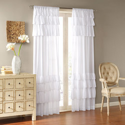 "Madison Park - Madison Park Joycelyn Cotton 84-Inch Oversized Ruffle Curtain Panel - Vintage chic meets southern charm with oversized ruffles. Panel is made of classic cotton voile. This panel includes a 3"" drapery pocket for easy assembly."