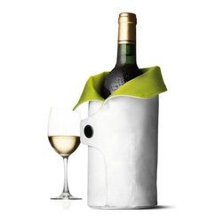 MENU - Cool Coat, White/Lime - Bringing a chilled bottle of wine to an outdoor concert or picnic has never been easier. You can't go wrong bundling your bottle with this rugged canvas, and the refrigerated interior wrap will keep your beverage cold and delicious.