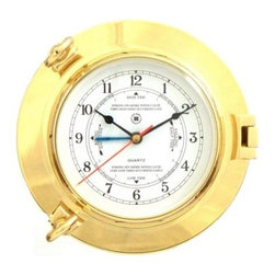 Bey-Berk International Brass Porthole Tide/Time Clock - Tarnish Proof - Your Bey-Berk International Brass Porthole Tide/Time Clock T.P. will make a wave of excitement from all who gaze upon it. Fun and functional this metal clock is easy to read and runs on batteries to power the analog quartz-movement - and you'll appreciate the easy care of the solid brass tarnish-proof bezel. About Bey-Berk InternationalThis quality item is created by Bey-Berk. For more than 20 years Bey-Berk International has crafted and hand-selected unique gifts and accessories from around the world to meet the demands of discerning customers. With its line of elegant and distinctive products Bey-Berk has established itself as a leader in luxury accessories.