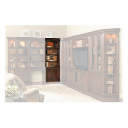 "Hooker Furniture - European Renaissance II Door Bookcase - White glove, in-home delivery included!  Includes furniture assembly!  Door Bookcase only. (Shown with European Renaissance II modular wall system.  It is the tall unit with doors on the left side.)  Cherry and myrtle burl veneers with hardwood solids are an exquisite combination in the European Renaissance executive home office collection.  One adjustable wood-framed glass shelf, two adjustable shelves, two doors with one adjustable shelf behind, one light controlled by a three-intensity touch switch.  Shelf space above fixed shelf: 30 1/4"" w x 14"" d x 38 1/4"" h  Shelf space below fixed shelf: 30 1/4"" w x 14"" d x 12 3/4"" h"