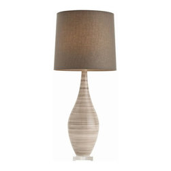 Hunter Gray Striped Ceramic Acrylic Table Lamp by Arteriors Home - Shapely and striated, this curvy ceramic table lamp cuts a perfect figure. I envision two of these on either end of a buffet, on two nightstands, or one standing on its own in the living room on a side table.