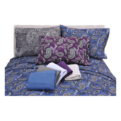 Bedding Web Store - Solid or Paisley-Flannel Sheet Set, Solid Ivory, Queen - This sheet set is available in either solid flannel or paisley print.  These sheets are made with 100% cotton.  They will keep you comfortably warm on the coldest night.  This set includes a flat sheet, fitted sheet and two pillowcases.  The twin set only includes one pillowcase.    It is available in Twin, Twin XL, Full, Queen, King and California King size.  The color options are: Purple Paisley, Grey Paisley, Navy Paisley, White Solid, Navy Solid, Purple Solid, Grey Solid, Ivory Solid